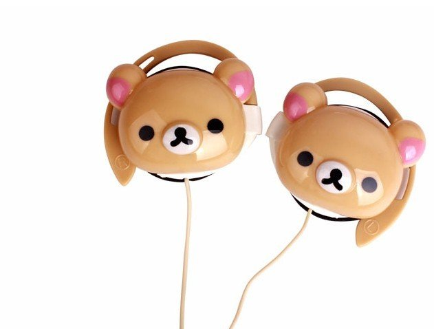 50PCS SAN-X Rilakkuma Bear Earphone Headphone For Ipo d MP3 MP4 Earplug Plug in Headset-- Ear Hang Earphone(China (Mainland))