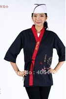 free shipping Unisex Navy blue Embroidery  Japanese cuisine  Chef Coat