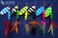 Fishing Spinners Lure Hard Bait Walleye Crappie Minnow Fishing Tackle Spinner bait With Feather Hook color random FS-105