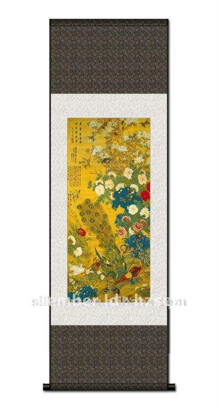 Pintura chinesa da flor e do pavão