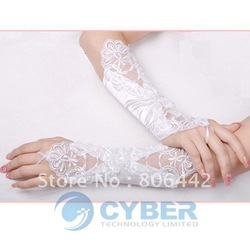 Free shipping Fashion Wedding Satin Lace Beads Fingerless Bridal Gloves(China (Mainland))