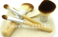 Free/drop Shipping,Natural bamboo handle,4 pcs Makeup Brush set, Makeup Brushes + Cosmetic Brush Roll SCZ01003