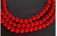 Free shipping(China Post Air Mail)!! 350pcs 6mm thread red coral round beads in wholesale