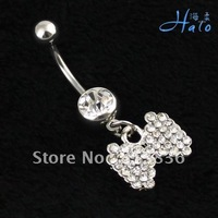 BJ00480!Min Orde is USD10!Rhinestone Crystal Puncture Jewelry Metal Alloy Belly Button Ring body Ladies' Navel Piercing Article