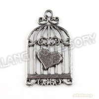 New Arriva 90pcs/lot Fashion Heart Birdcage Charms Antique Silver Plated Alloy Pendant Jewelry Findings 31x19x1mm 142983