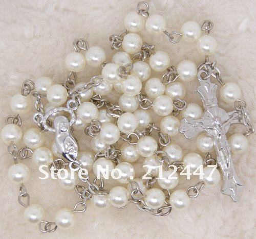 Catholic Rosary Prayer Beige Beads Cross Jesus Necklace(China (Mainland))