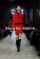 Free Shipping 2012 Stretch Cotton Back Zipper  V-neck 3/4  Sleeve  Dress 120912VB01