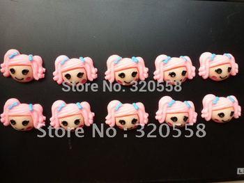 "Wholesale La la loopsy girls with Blue bow FlatBack Resins Scrapbooking Embellishment 50pcs Free Shipping 1.2"""