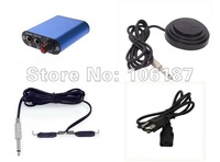 Blue  Mini Tattoo Power Supply kit set  +Your Country Plug +Round Black Star Tattoo Foot Pedal Switch +Tattoo Clip Cord