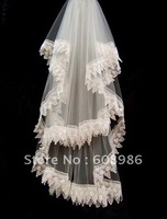 K34    New White Short Lace Two-layer Fingertip Bridal Vails