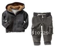 free shipping baby winter sets boy 2pcs warm suits big pocket hoody + pants fleece warm tracksuits 4pcs wholesale kids clothes