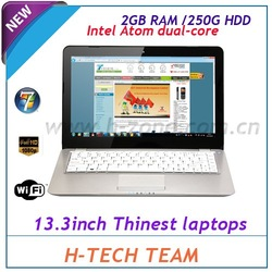 "New Arrival 13.3"" Aluminum case metal laptop with Intel dual-core D525 1.8Ghz cpu,2GB ram&250G HDD Win7 OS WIFI Webcam HDMI(Hong Kong)"