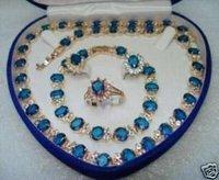 Blue Topaz necklace bracelet ring Sets 14k gold plated