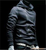 2012 fashion asymmetrical pocket men's slim buckle blazer new mens suit jacket  5977 promotion color: black,gray size:M,L,XL,XXL
