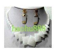 18K GP Graceful natural white jade earring necklace sets