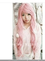 New Fashion Long Curly Cosplay Light Pink Party Wig Wigs