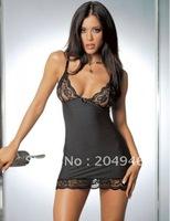 M L XL XXL Plus Size 2014 Hot Women Deep V Striped Club Wear Sexy Lace Babydoll Chemise Night Sleepwear Lingerie black YH123