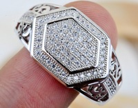 Men's ring Micro Pave Prong Set Circular Cut AAA Hip Hop CZ 925 Solid Sterling Silver Ring Size8,9,10 BJ258801