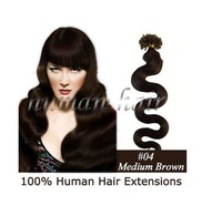 "7colors, 20"" Wavy Remy Nail Tip Human Hair Extension 100s;#04,medium brown ,Free shipping/Wholesale/Retail"