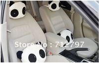 2pcs Cute Lovely Panda Pattern Car Seat Neck/Headrest Pillow+Soft Back Cushion free shippping