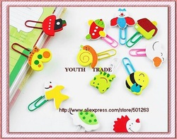 wooden cartoon Paper clips, children lovely book clip , free shipping(China (Mainland))