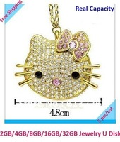 New  genuine 4G/8G/16G/32G  jewelry hello kitty metal diamond usb drive pen drive usb flash drive Free shipping+Drop shipping