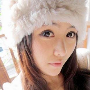 Lady Fashion Genuine Knitted Rabbit Fur Hat Warm Cap Headgear Headdress Accessory Factory Directly Sale