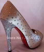 BS356 free shipping custom make peep toe red soles rhinestones bridal wedding shoes