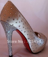 BS356 free shipping custom make peep toe red soles rhinestones bridal wedding shoes