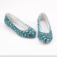 BS343 free shipping top quality flat full blue rhinestones bridal crystals wedding shoes 2012