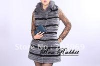 free shipping - fashion Sleeveless long lady fur jacket ,hat collar,free size