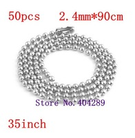 Free Shipping 50pcs 2.4mm*90cm Stainless Steel Ball Beads Chain Necklace  Ball Chain/KEYCHAIN