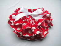Vintage hot sale baby  bloomers with Red and White Dot Bow Baby Clothes Infant Baby Shorts KP-SB003