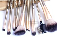 Cheap 10PCS set Gold Goat Hair Nylon Wooden Makeup Brush Set With Roll Up Leather Bag Case H4455