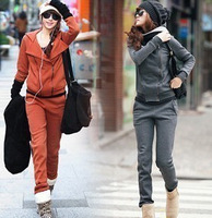 Free Shipping Brand New Korean Women's Hooded Cotton Jacket +pants Wild hooded sportsuit Drop Shipping