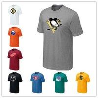 Hockey Team Large Logo T-Shirt Men's Sport Short Sleeve Shirt Cotton Cloth Wholesale Shirt Mix Order