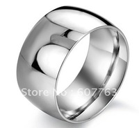 New Arrival 12mm Super Width Classic 316L Stainless Steel Simple High Polished Men Ring