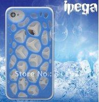 Chromed Case Cover With Net Mesh Bird's Nest Design For iPhone 4S 30pcs/lot