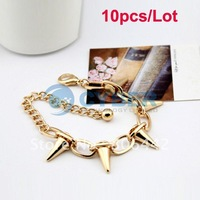 Free Shipping 10pcs/Lot Fashion Gold Unisex Cool Rock Punk Gothic Taper Stud Link Hand Chain Rivets Spikes Bracelet
