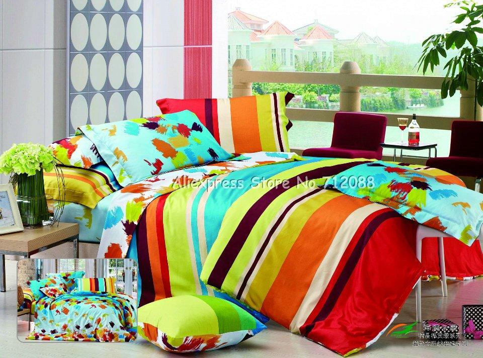 Wholesale fashion cotton green orange red striped pattern - Red and orange comforter sets ...