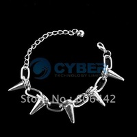 Free Shipping Fashion Unisex Cool Rock Punk Gothic Rivets Spikes Taper Stud Link Hand Chain Bracelet