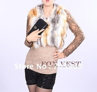 free shipping -2012  fashion Sleeveless short vest fox fur garment,free size