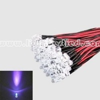 5mm Purple LED Lamp Pre Wired 20cm DC12V For Car, Boat, Project, and DIY 100pcs/Lot