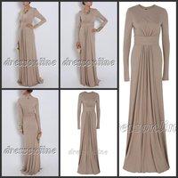 MUS001 Cheap Elegant High Quality Long Sleeves High Neck Jersey Formal Muslim Evening Party Dress Zipper Back Custom Made