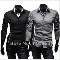Free shipping 2012 new men's office slim casual shirts cloth dropship