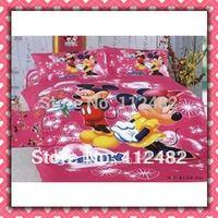 Cartoon Mickey Minnie mouse Pink Cotton children 4pcs Bedding Set Kid Bedding Free Shipping