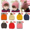 Free Shipping New style Wholesale Rabbit ball Korea baby caps Children Knitting Hat Winter warm kids Cap,7colors 10 pcs/lot
