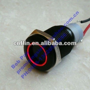 16mm Black Latching anti-vandle led Switch,Red or Blue