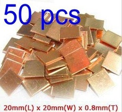 50pcs 0.8mm Laptop GPU CPU Heatsink Copper Pad Shim(China (Mainland))