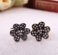 Wholesale Jewelry Vintage Classic Fashion rhinestone Rings flowers Antique Cute Sweet Fashion Ring SJJ079 Free Shipping
